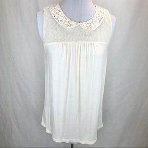 Ann Taylor cream lace & pearl collared tank - M